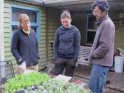 Andrew, Jess and Kim check out some seedlings