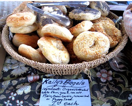 Kaily's famous organic, delicious bagels at Saturday market