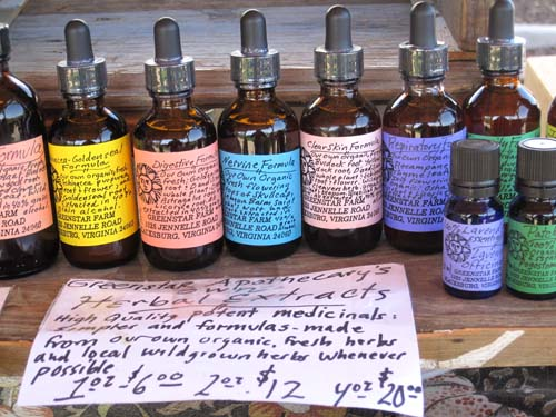 A collection of Lauren's herbal extracts