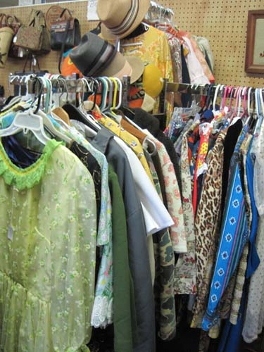 A collection of beautiful vintage clothing on display